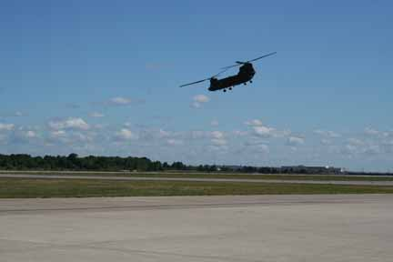 Boeing CH-47 Chinook takes off just after we walked out onto the runway.