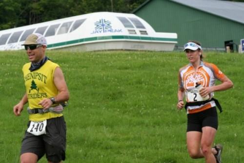 Scott and Jennifer Johnson begin the ascent of JayPeak.