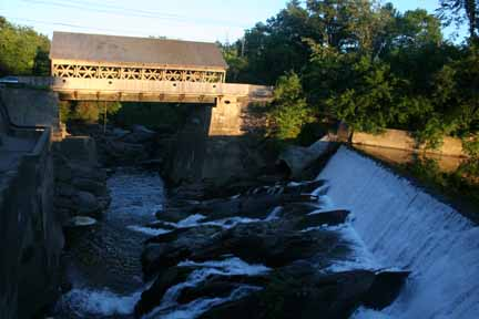 The factory is on the Ottauquechee River in the center of Quechee, VT.