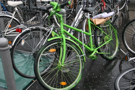 Bikes are common means of transportation in Europe.