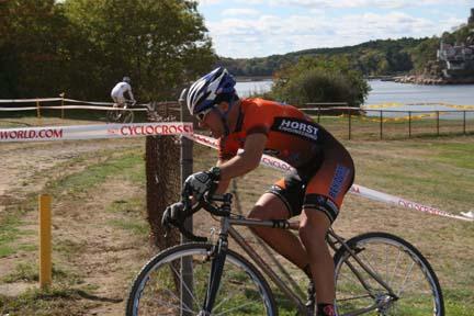 Scott rides the ball field hill overlooking WesternHarbor.