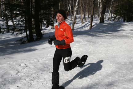 Deb Livingston powers to the finish at Curly's Record Run.