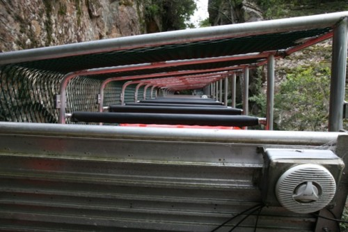 Looking straight down from our car on the steepest incline railway intheworld.