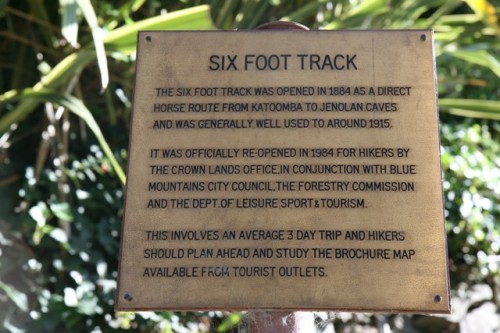 The Six Foot Track plaque.
