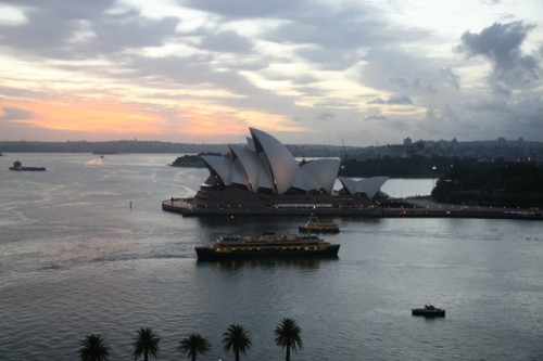 The Sydney Opera House viewed from the Sydney Harbor Bridge.