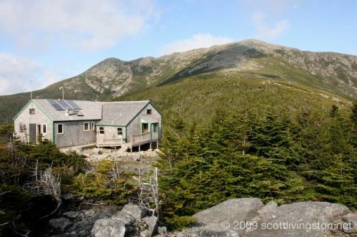 Greenleaf Hut and Mt. Lafayette.
