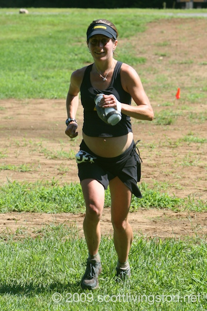 Debbie Livingston nears the finish.