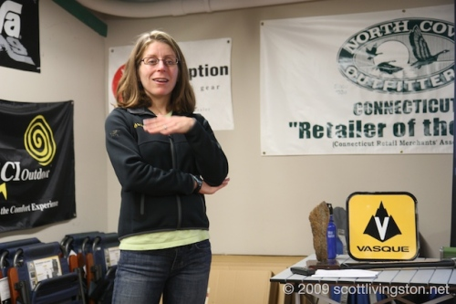 Deb Livingston speaks at North Cove Outfitters.