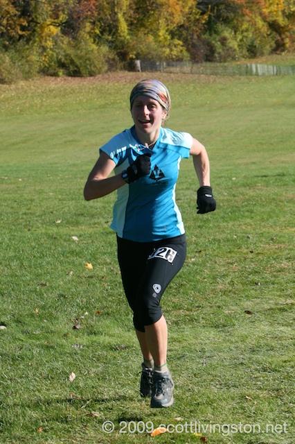 Debbie Livingston kicks it to the finish.